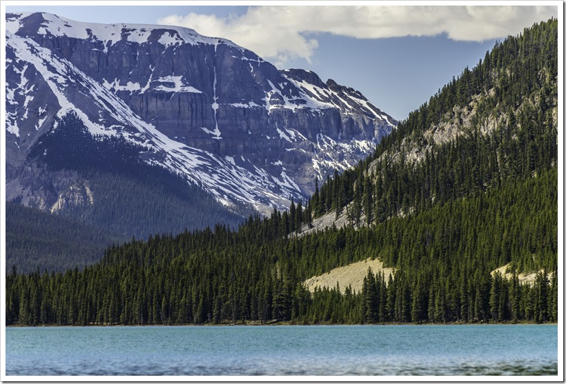 Waterfowl lake melted early in the hot summer of 2015, Banff National Park, Canada