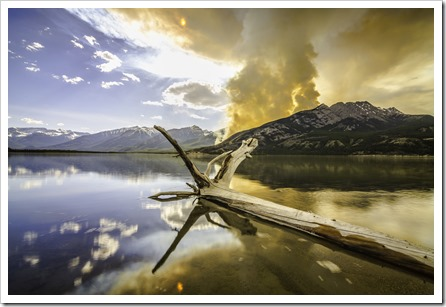A huge wild fire in Jasper National Park creates dramatic lighting