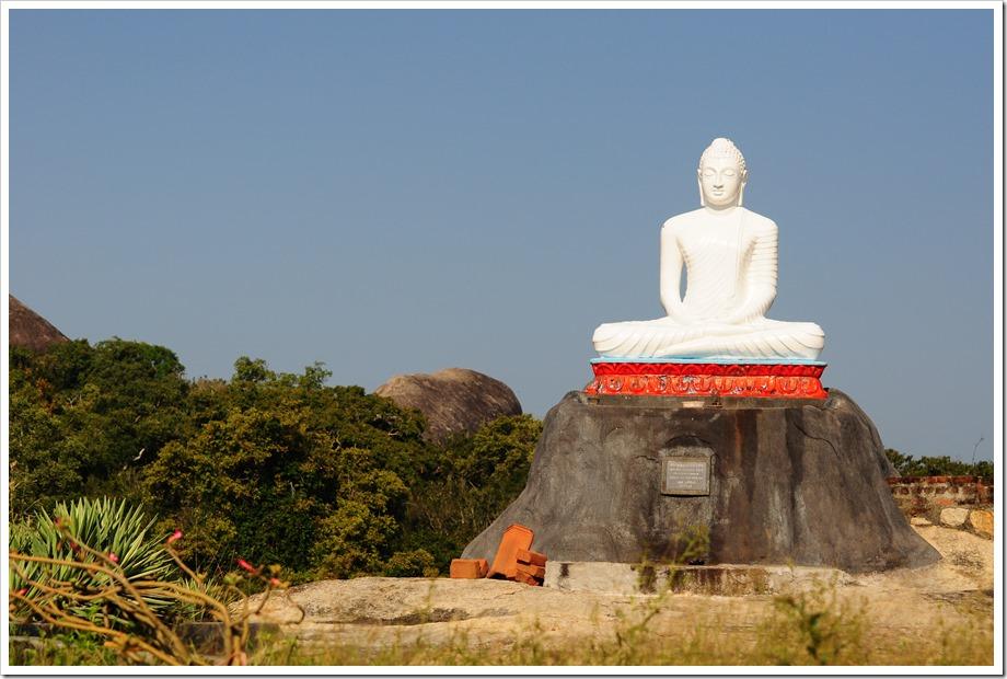 Statue of Buddha atop a hill - Kudumbigala monastery