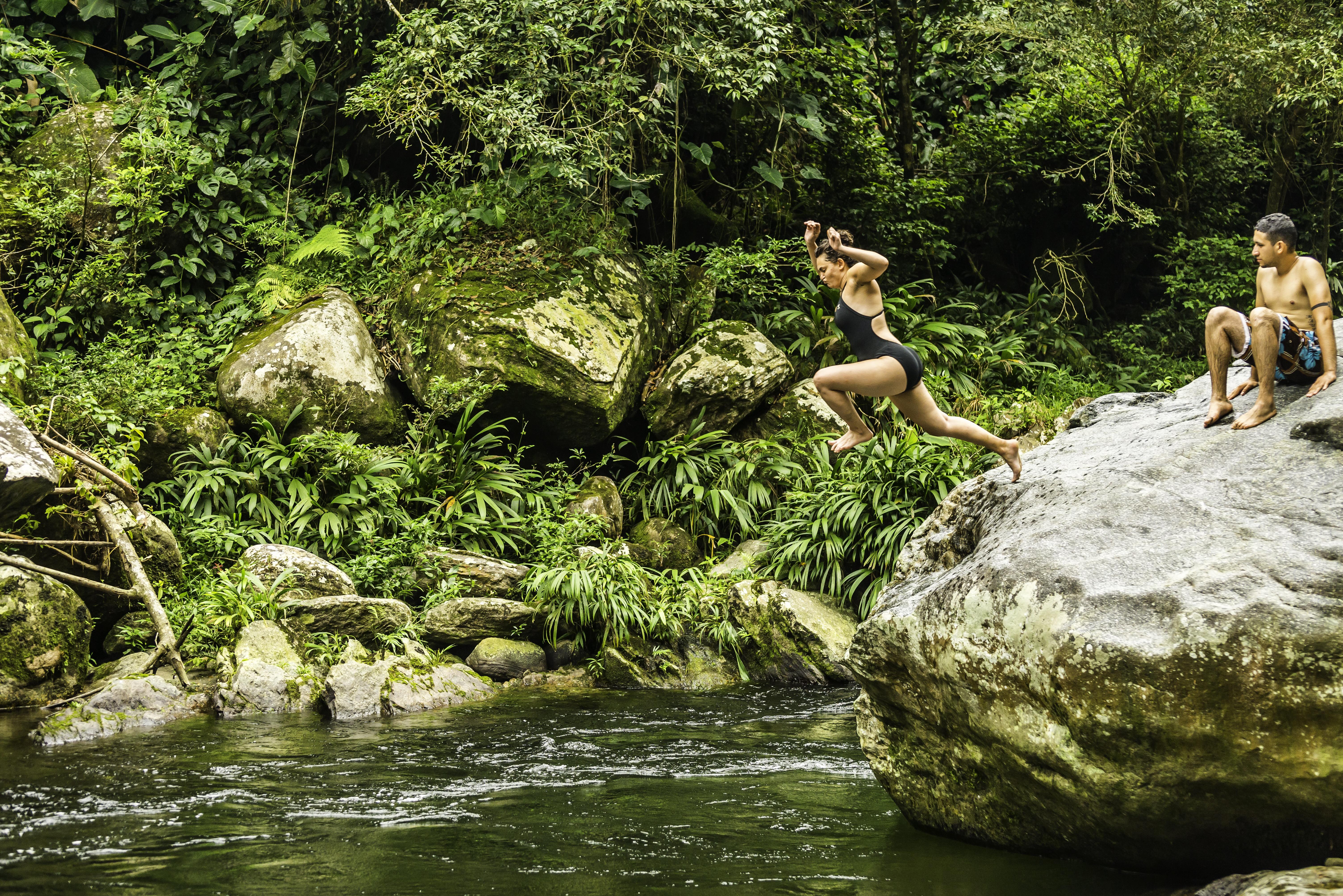 Feriel braving a jump