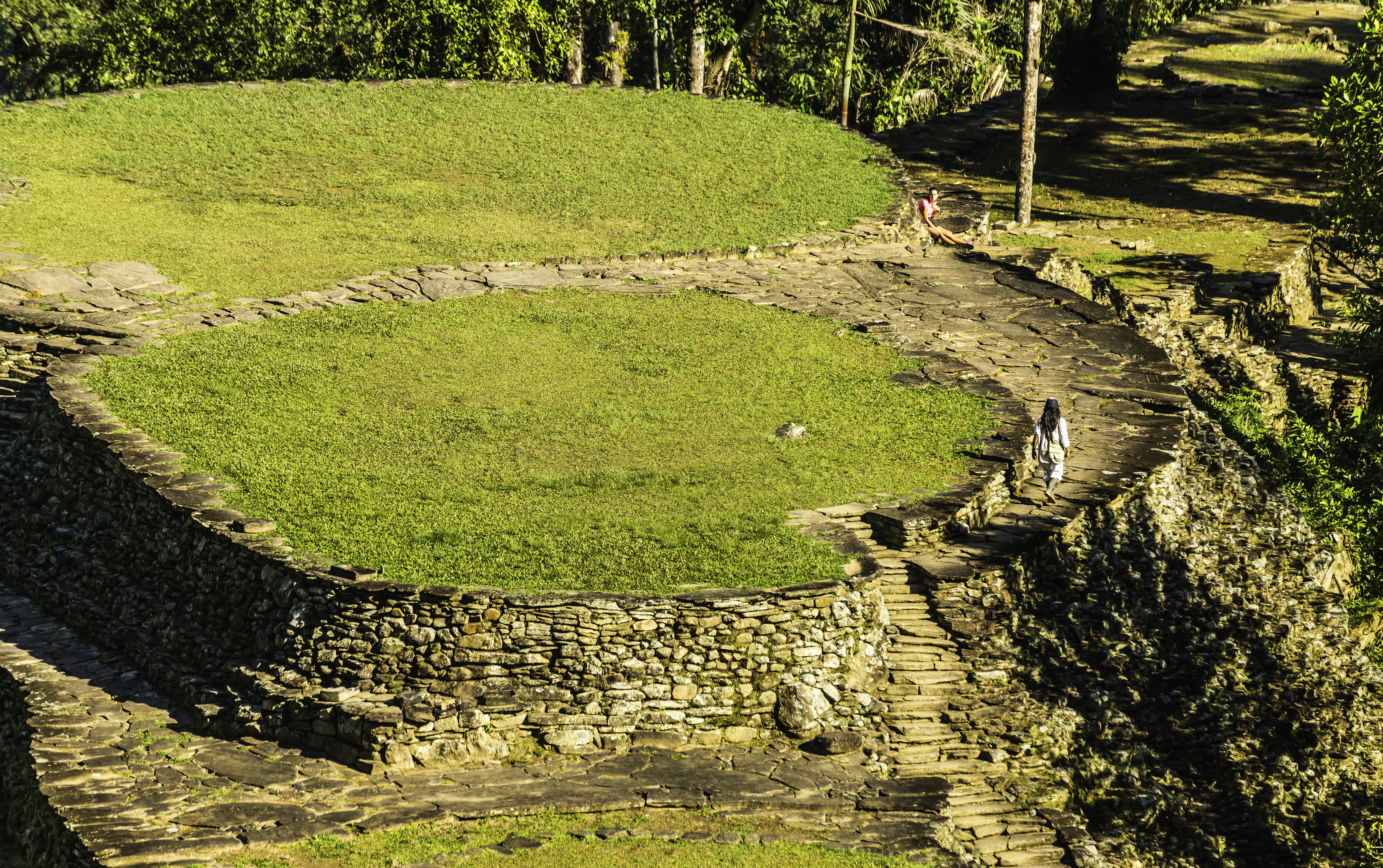 A boy from a nearby village waking along the ruins of Ciudad Perdida