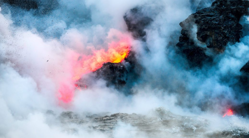 Hawaii's wonders: active lava flow into the Pacific