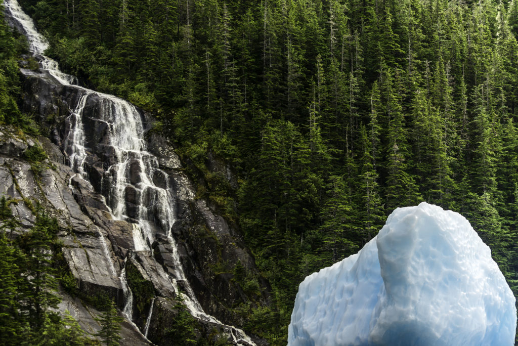 Numerous waterfalls plummet down the steep valleys along the Tracy Arm fjord
