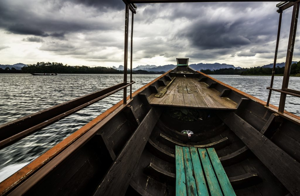 Setting off for Khao Sok National Park from the jetty on the Ratchprabha lake