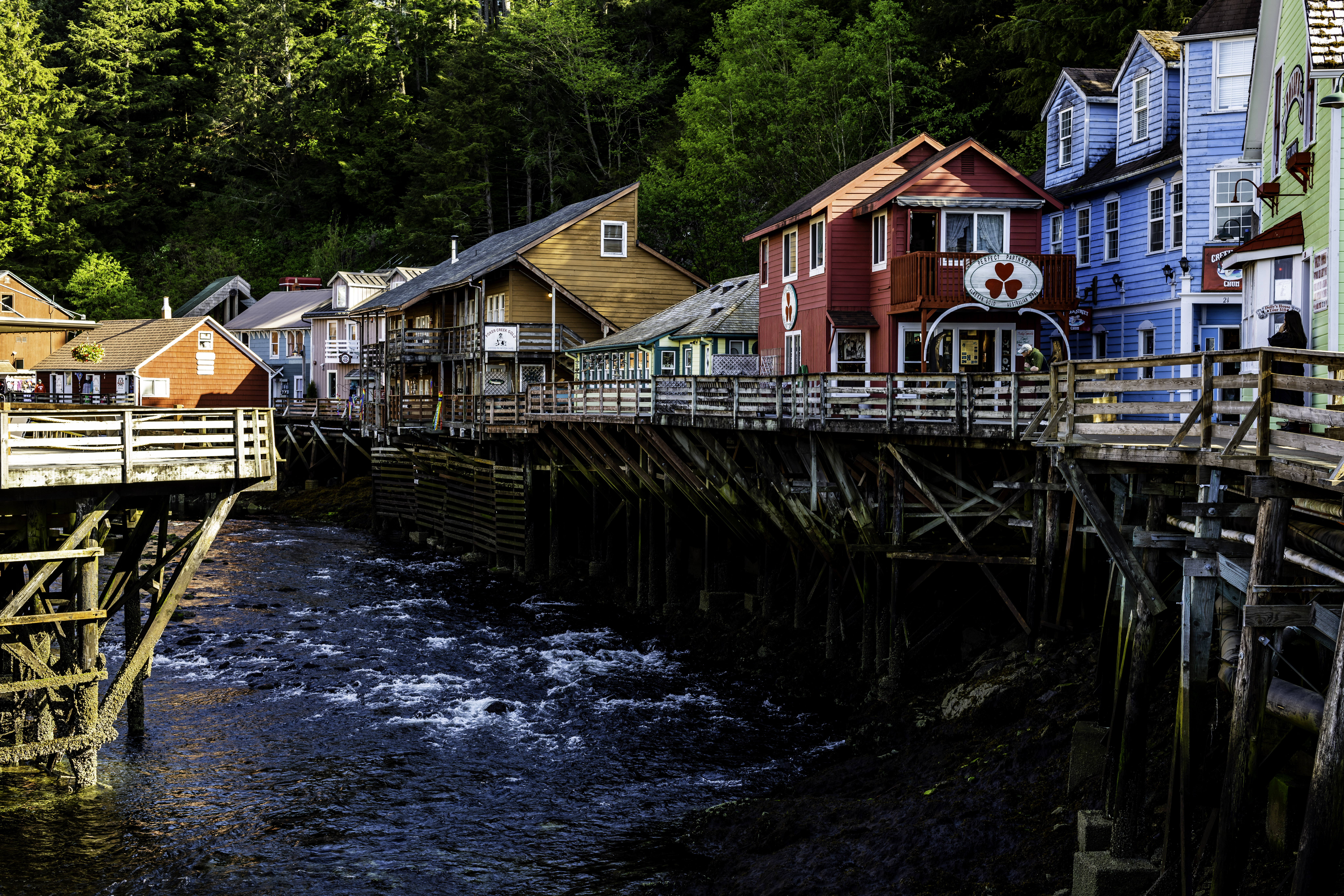 The quaint little creek street in Ketchikan